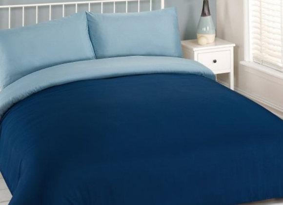 Simple block colour navy/blue reservible duvet cover