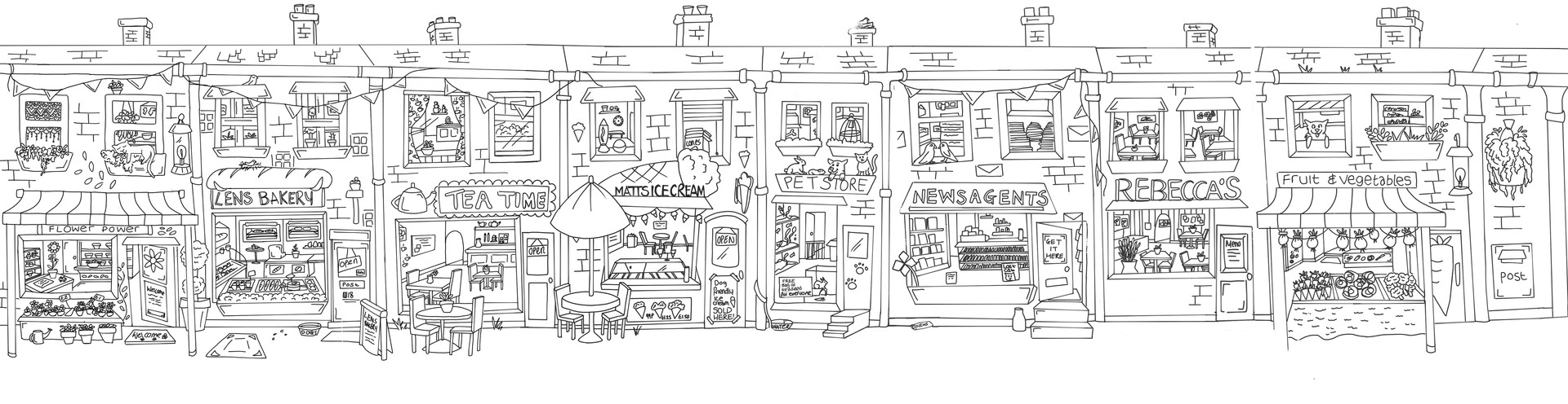 'The Town Hall Clock' background line art.