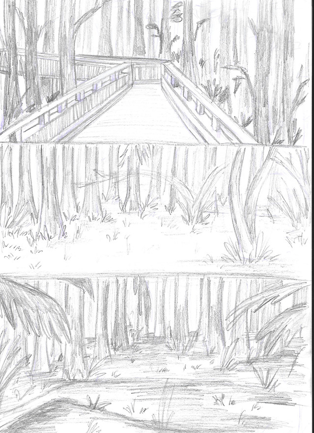 Forest sketches for 'Mimi & Buster - A Day in the Forest'