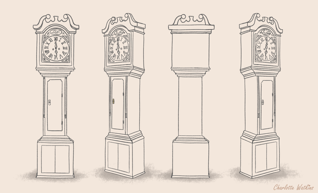 Grandfather clock line art