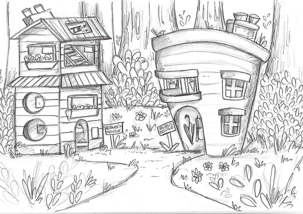 House designs for 'Mimi & Buster - A Day in the Forest'