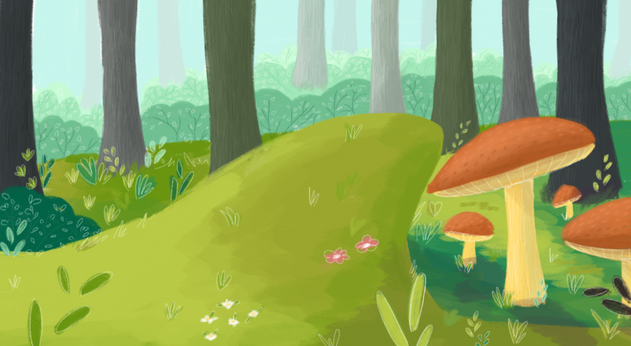 Background art for 'Mimi & Buster – A Day in the Forest'