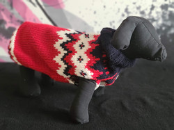 39.Chilly Dog red black white sweater  XXS, XS, S, M