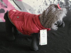 54. GF Pets red puffy with grey sweater hood size S