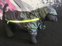 21. Canada Pooch black green camo with hood and brim sizes 12 14 16