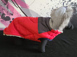 59. Bailey and Bella red grey fleece with furry hood L