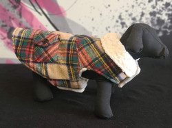32. Bailey and Bella red green tan plaid with fleece lining M, L