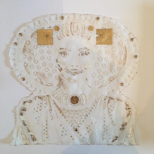 Zuid Beveland II_40_40 artwork size_gold leaf, acrylic on burned&embroided handmade silk p