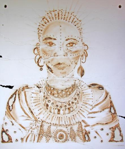 LANKENUA_96_111 artwork size_chalk,burned&sewn paper_slim white frame_august 21_2650euro M