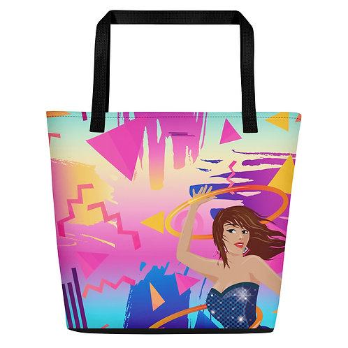 Disco Hoops Large Tote / Beach Bag (POD)
