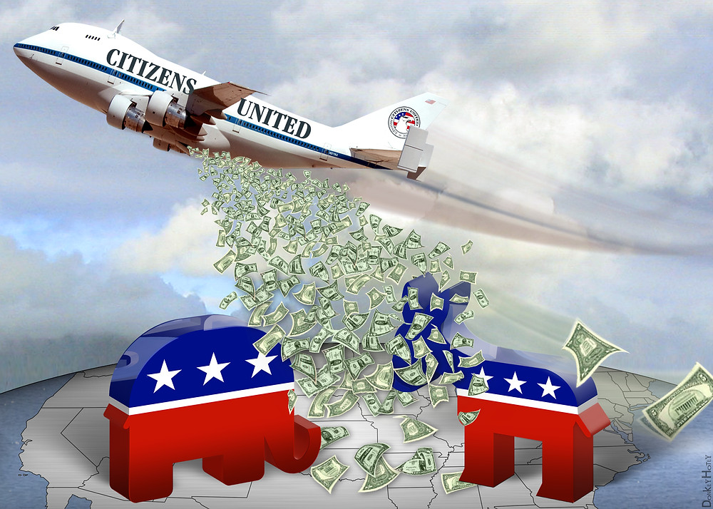 "A plane bearing the words ""Citizens United"" flies over a map of the United States dropping greenbacks. An elephant and a donkey stand on the map in the flood of bills."