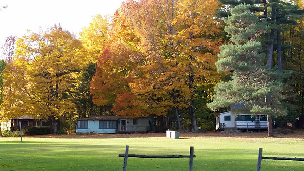 Fall colours and the cottages.