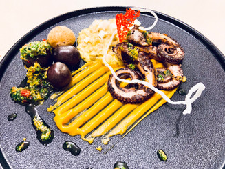 Octopus on Grill, Trigo, sweetotato purre with honey,chimichurri peruano,Andes potatoes.