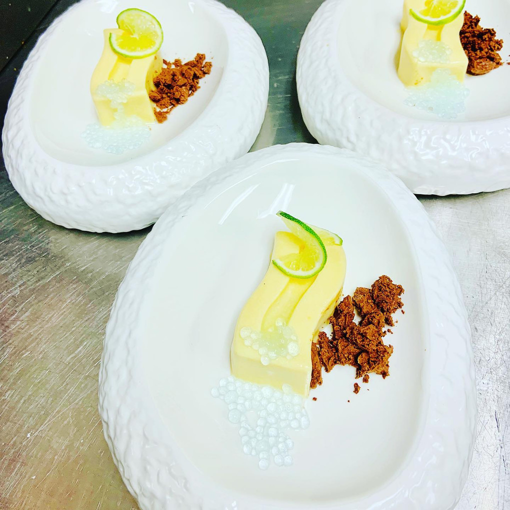 Lime Mousse, molecular spherification