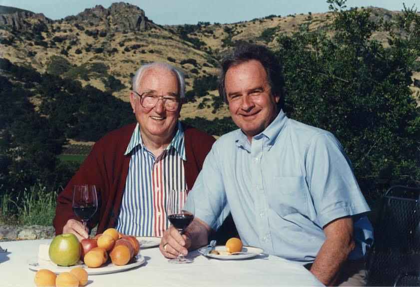 Winiarski and Nathan Fay, 1985, with Stags Leap Pinnacles in the background