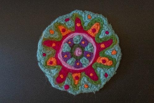 Untersetzer- Mandala aus Wolle, rund