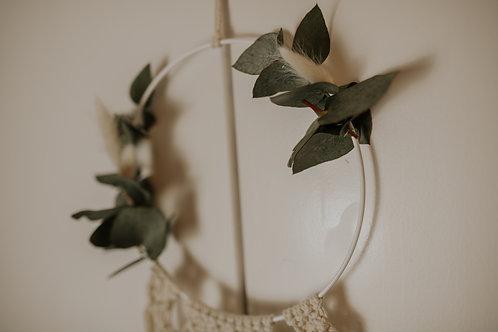Makramee Flower Loop mit Eukalyptus