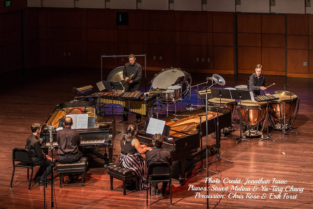 9/11 Memorial Concert at Messiah College, Parmer Hall: Bartok Sonata for Two Pianos & Percussion. Photo Credit: Jonathan Isaac