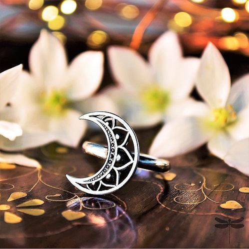 Anel Prata Lua Meia Mandala
