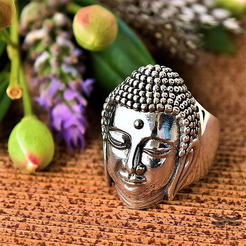 Anel Prata Rosto Buda Liso