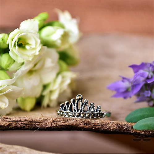 Anel Prata Coroa Cravejado Marcassita Pandora