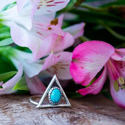 Anel Prata Pirâmide com Pedra Turquesa