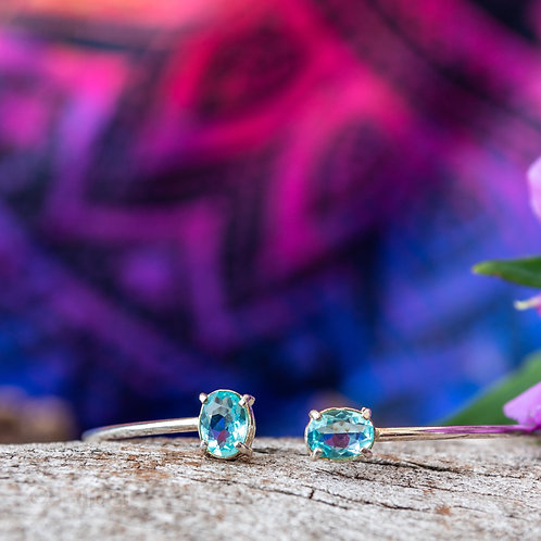 Bracelete com Zircônia Topázio Azul