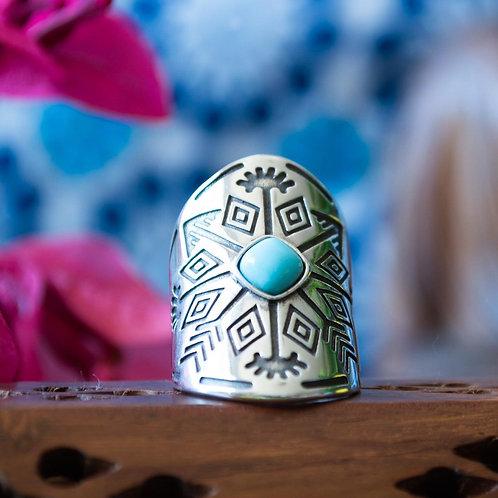 Anel Prata Asteca com Pedra Turquesa