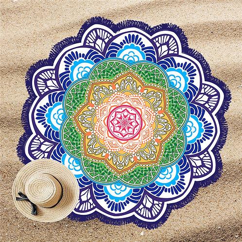 Mandala Lótus Beach Pool Towel Blue