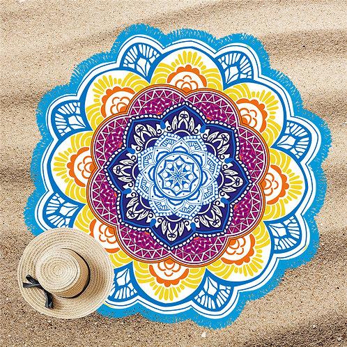 Mandala Lótus Beach Pool Towel L Blue