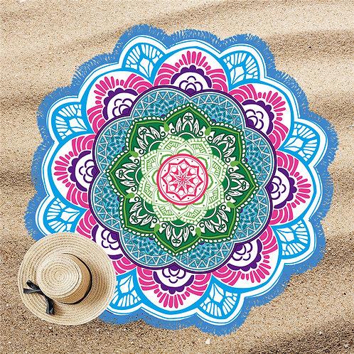 Mandala Lótus Beach Pool Towel Blue P