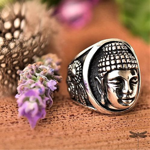 Anel Prata Bali Face Buda