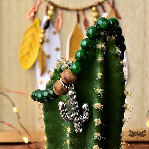 Pulseira Shambala com Pingente Prata Cacto e Pedras Verdes