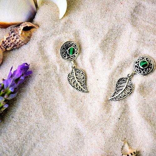 Brinco Prata Boho Pena Pedra Verde