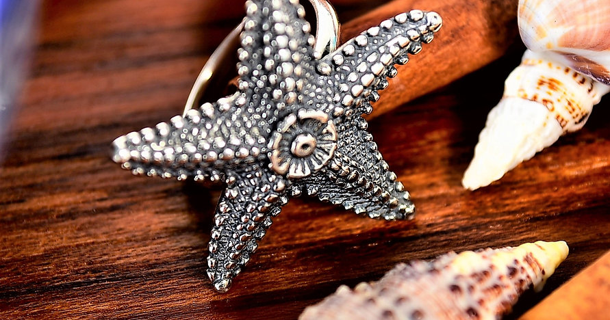 Anel Prata Estrela do Mar Trabalhado
