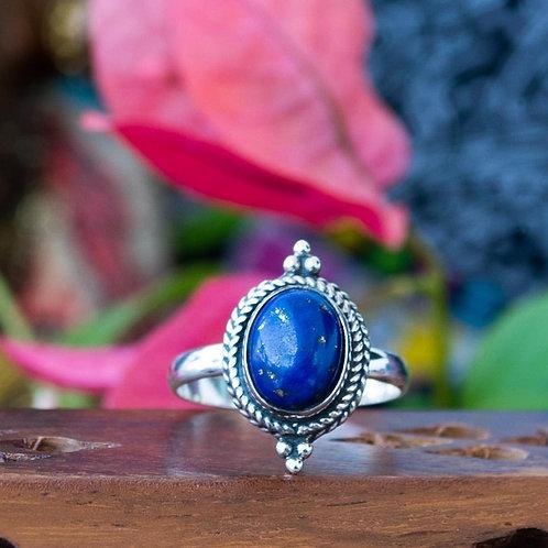 Anel Prata Indiano com Pedra Lápis Lazuli