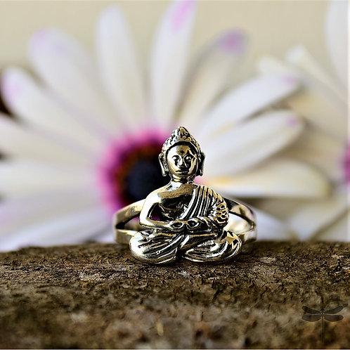 Anel Prata Buda Meditação