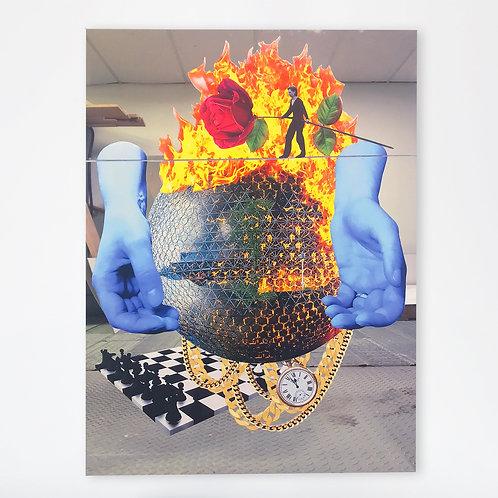 "Interlude (Collage sur miroir) - 27x37"""