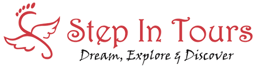 Step In Tours Logo,company name and tag line