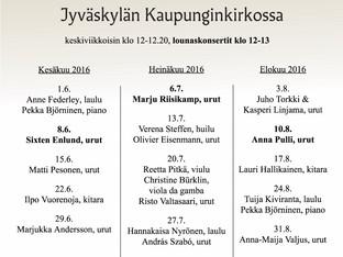 Bachia ja ooppera-aarioita Jyväskylän Kaupunginkirkossa 27.7. urkuri András Szabón kanssa