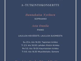 Laulun A-tutkintokonsertti Musiikkitalossa 9.5.2017