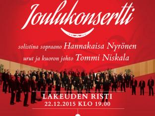Etelä-Pohjanmaan mieslaulajien joulukonsertin solistiksi Seinäjoelle