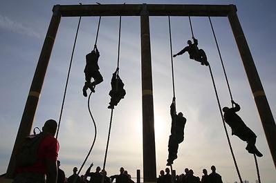 Marines rope climbing