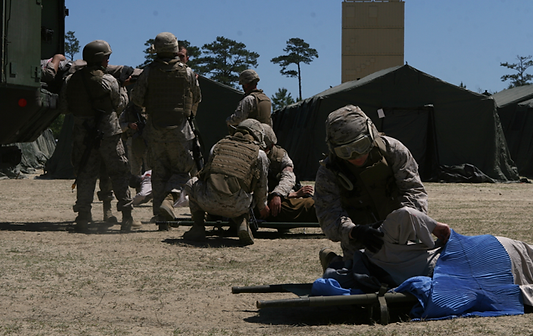 Navy corpsmen training with the Marines at Camp Lejeune for combat recovery