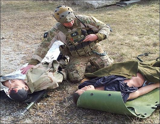 USAF PJ in field training drill.