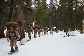 Winter drill in snow field