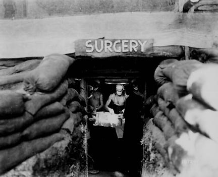 "WW II mash unit, ""dug in!''"