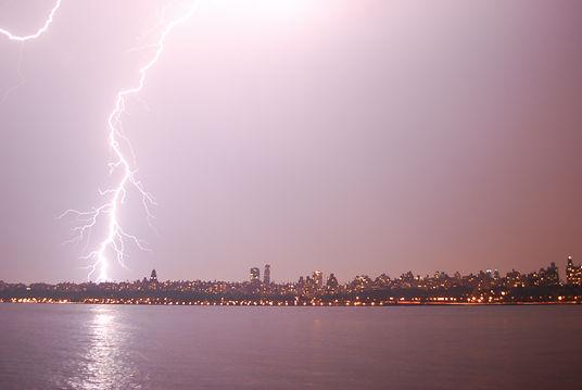Lightning in upper Manhattan