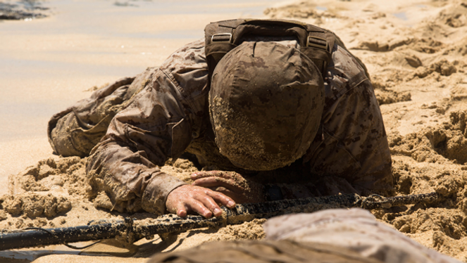 Marine hits the sand