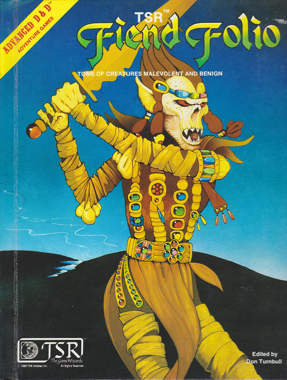 "The original Fiend Folio Tome (1981) cover feature art by the enigmatic ""Emmanuel""."